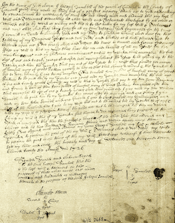 Will of Joseph Sambell 1726